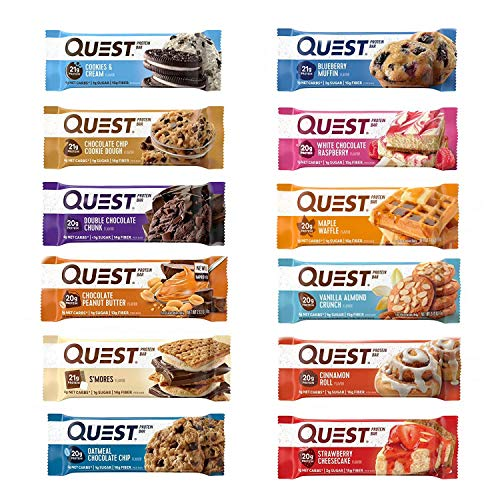 - Quest Nutrition Protein Bar Adventure Variety Pack. Low Carb Meal Replacement Bar w/ 20g+ Protein. High Fiber, Soy-Free, Gluten-Free (12 Count)