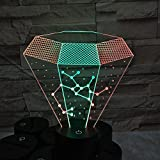 ZY&ZQ Night Light/ 3D Night Light Two-Color Diamond Vision Stereo Light Touch 7