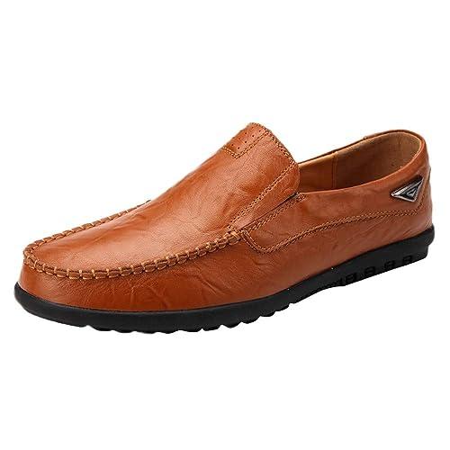 Logobeing Hombres de Cuero Zapatos Perezosos Mocasines Suaves Confortable Zapatos Cómodos para Hombres Zapatos Hombre Vestir