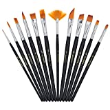 YOUSHARES Art Paint Brush Set for Watercolor, Oil, Acrylic Paint/Craft, Face Painting (12 Pcs Black)