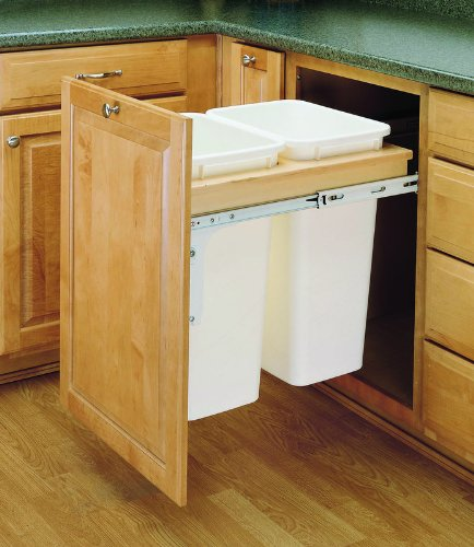 Rev-A-Shelf 4WCTM-2150DM-2 Double 50 Qt Top Mount Pullout Waste Container - White