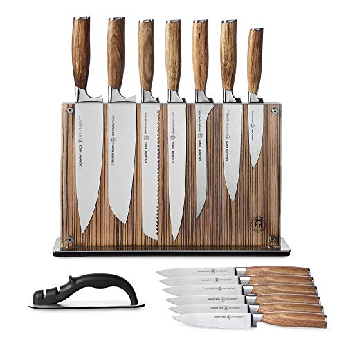 Schmidt Brothers - Zebra Wood, 15-Piece Knife Set, High-Carbon Stainless Steel Cutlery with Zebra Wood and Acrylic Magnetic Knife Block and Knife Sharpener