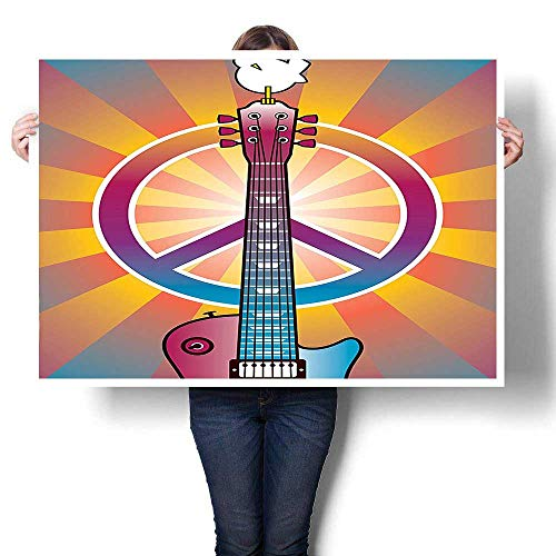 SCOCICI1588 Modern Canvas Painting Wall Art,Colorful Illustration of Guitar Peace Symbol and Dove Dedicated to The Woodstock Artsy Oil Painting,Wall Stickers,48