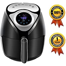 Air Fryers - KitchCater - 3.7 Quart 1300W Non-Stick Electric Touch Screen Airfryer Low Fat Oil-Less Healthier Fryer with Cookbook (Black)