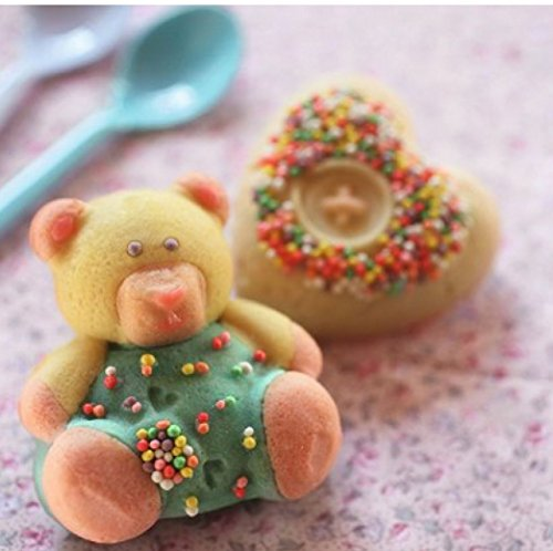 Silicone Baking Mold - Mini Cake Pans For Kids (Heart and Teddy Bear) (Teddy Bear Cake Pan compare prices)