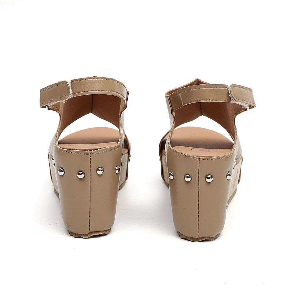 Dressin Women Summer Round Toe Breathable Rivet Beach Sandals Boho Casual Wedges Shoes