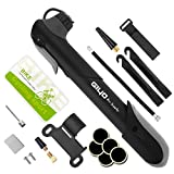 ON THE WAY 120 PSI Mini Bicycle Pump Gauge,Bicycle Tire Pump Glueless Puncture Repair Kit& Tire Levers & Frame Mount & Ball Needle Fast Air Pump Suitable for Presta & Schrader Valve