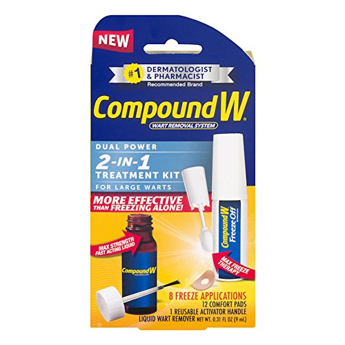 Compound W Freeze Off Wart Removal System | Dual Power 2 in 1 Treatment Kit for Large Warts | 12 Comfort Pads, 0.31 oz Liquid Wart Remover | 8 Applications by Compound W