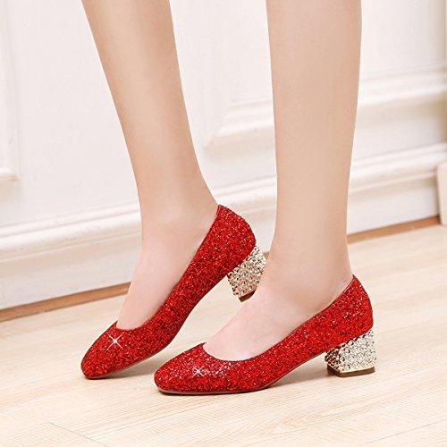YE Damen Chunky Heels Pumps Glitzer High Heels Geschlossen mit Pailletten Bequem Elegant Hochzeit Schuhe Rot