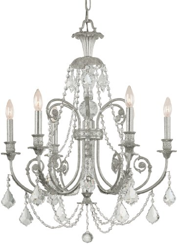 5116-OS-CL-MWP Regis 6LT Chandelier, Olde Silver Finish with Clear Hand Cut Crystal