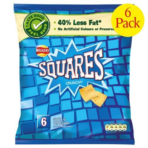 Crisps Walkers Squares Salt & Vinegar 6X6X22G