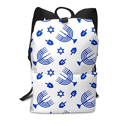 Liumong Hanukkah Blue Menorah Book Bag Holder Travel Back Backpack School Travel Hiking Small Mini Gym Teen Little Girls Youth Kid Women Men Printed Patterned ()