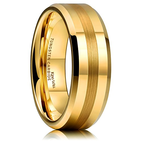 King Will Glory Mens 8mm Matte Brushed Center Tungsten Carbide Ring Yellow Gold Polished Wedding Band 9 ()
