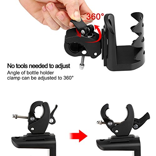 Universal Stroller Cup Holder by Accmor, Attachable Drink Holder for Baby Stroller, Pushchair Bicycle Strollers, Bike, Mountain Bike and Wheelchair (2Pack) by accmor (Image #5)