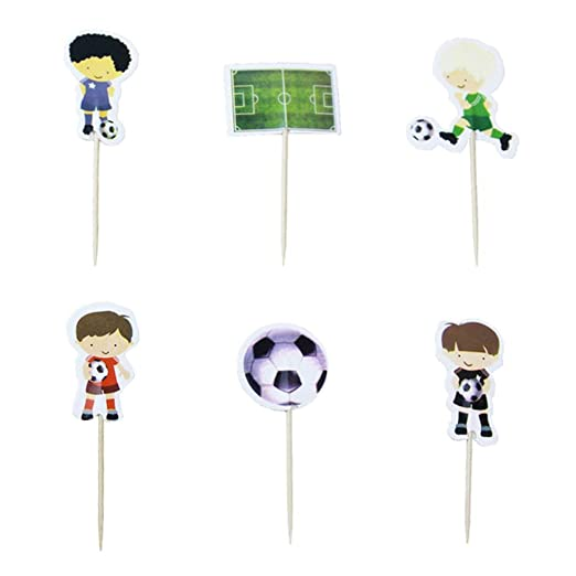 Amosfun 48 piezas temática de fútbol decoración de tarta de ...