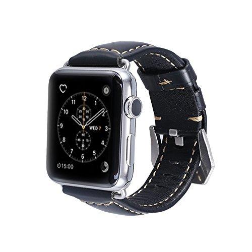 BORAZI Cordovan Finish Style Premium Cowhide Leather Watch Strap for Apple Watch 1, 2, 3 & 4 (Gentleman Black, 42mm)