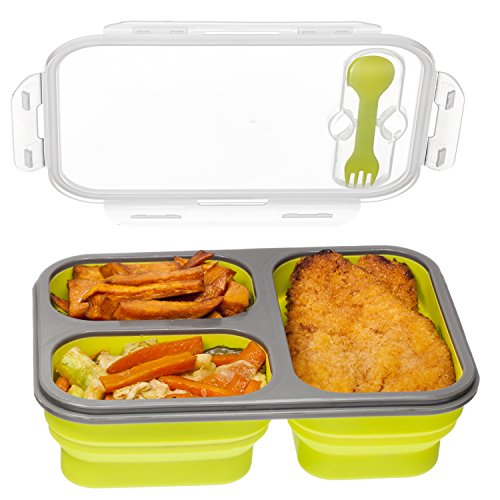 3 compartment food container with lid bento lunch box leak proof microwave safe silicone. Black Bedroom Furniture Sets. Home Design Ideas