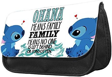 Hiros® Ohana means family Lilo y diseño de Stitch lápiz case-make hasta caso, de vuelta a la escuela regalo, regalo para niño, viajes Wash Bolsa, Bolsa de cosméticos organizador neceser bolso estuche