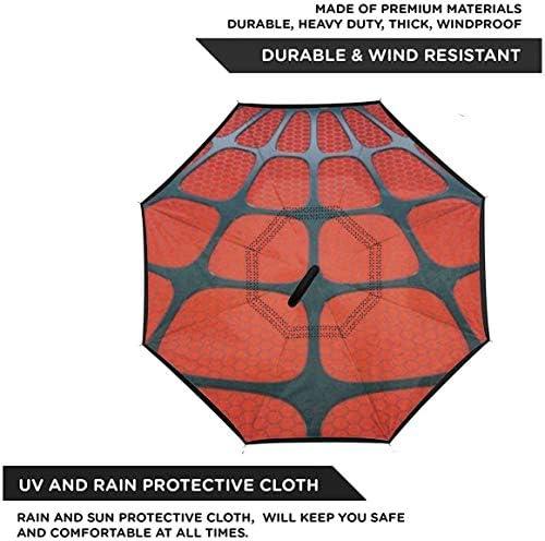スパイダーウェブ ユニセックス二重層防水ストレート傘車逆折りたたみ傘C形ハンドル付き