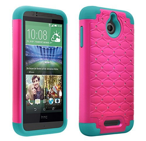 competitive price c3edb 94fdf HTC Desire 512 Case, HTC Desire 510 Defender Bling Hybrid Gel Protector  Diamond Hybrid, Protective Cover (HOT PINK ON TEAL DIAMOND HYBRID)