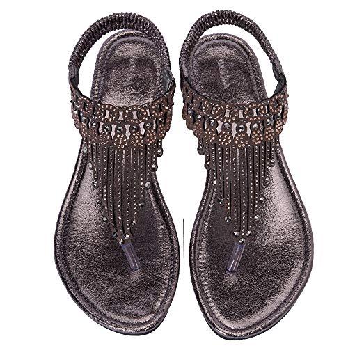 KOLDA Low Heel Women Dress Sandals Wedge Sandal Jeweled Rhinestone Decro Comfortable Summer Shoes for Women Ladies (Platform Jeweled Shoes Sandal)