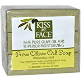 Kiss My Face Pure Olive Oil Soap Fragrance Free -- 3 Bars