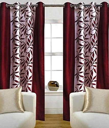 Freehomestyle Floral Polyester Window Curtain - 5ft, Maroon Curtains at amazon