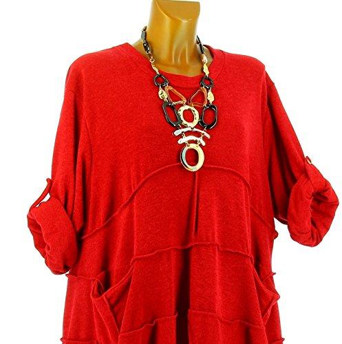 Charleselie94® - Vestido - Túnica - para mujer Rojo