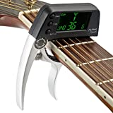 Guitar Tuner Capo, 2 in 1 Electric Guitar Capo Tuner with LCD Screen, Professional Capo Tuner Suitable for Acoustic or Folk Guitar, Banjo, Ukulele, Classical Guitar (Battery Not Included)