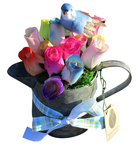 Spring, Easter Metal Can with Handle and Spout Wooden Rose Arrangement. Assorted Spring Colors of Wooden Roses in a Festive Arrangement - Happy Easter Floral Décor Bouquet for your Home or Office