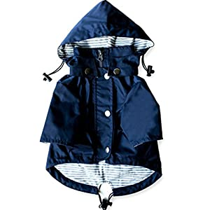 Navy Blue Zip Up Dog Raincoat With Reflective Buttons, Pockets, Rain/Water Resistant, Adjustable Drawstring, Removable Hoodie - Extra Small to Extra Large - Stylish Dog Raincoats by Ellie (L)