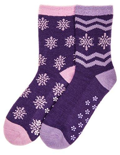 Noble Mount Womens Soft Premium Double Layer Winter Crew Socks - 2 Pairs
