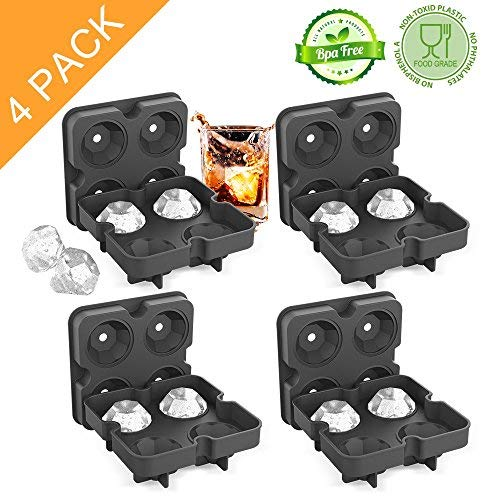 Ice Cube Trays with Lids(4 PACK), Diamond-Shaped Silicone BPA-Free Stackable Easy Release Ice Molds Multifunctional Storage Containers for Ice, Whiskey, Candy and Chocolate by Bella ()