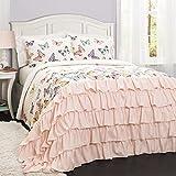 Lush Decor 16T000816 Flutter Butterfly 3Piece Quilt Set, Full/Queen, Pink