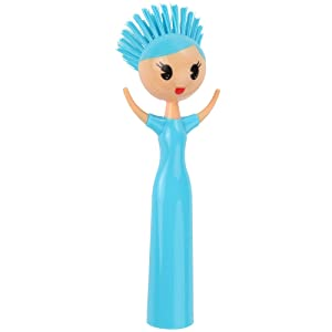 Home-X - Doll Kitchen Scrub Brush, Durable Girl Doll Shaped Deep Cleaning Dish Brush is a Fun Addition to Every Kitchen (Blue)