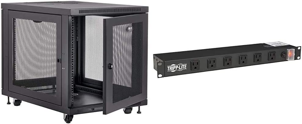 Tripp Lite 12U Rack Enclosure Server Cabinet & RS1215-RA Rackmount Network-Grade PDU Power Strip, 12 Right Angle Outlets Wide-Spaced, 15A, 15ft Cord w/ 5-15P Plug, Black