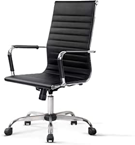 Eames Office Chair with Premium PU Leather High Back Executive Computer Adjustable Armchair Black