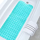 Wimaha Non-Slip Bathtub Mats Extra Long Tub Mat Machine Washable Shower Mat for Bathroom Mildew Resistant Anti-Bacterial, 39L x 16W Teal Bath Mat