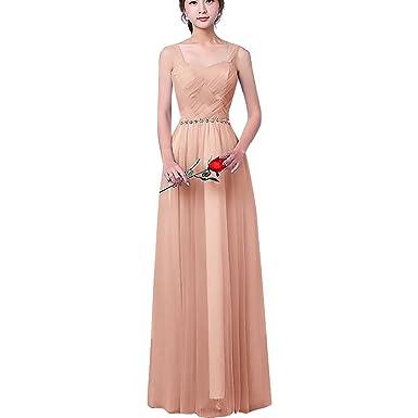 1ba2efb654f9 Women Chiffon Wedding Bridesmaid Long Maxi Dress Lace Up Off Shoulder Girls  Princess Strapless Tulle Sleeveless Dresses Formal Pageant Graduation  Evening ...