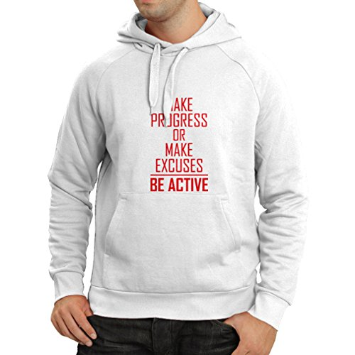 N4220H Hoodie Make Progress or make Excuses - BE ACTIVE (XX-Large White Magenta)