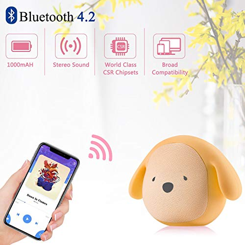 Dog Doggie Bluetooth Portable Speaker 5W Output Bass Stereo Personalized Cute Artistic Wireless Speaker for Home Party Cafe Bar Compatible for Desktop PC/Laptop/Mobile Phone (Yellow) (Output Stereo)