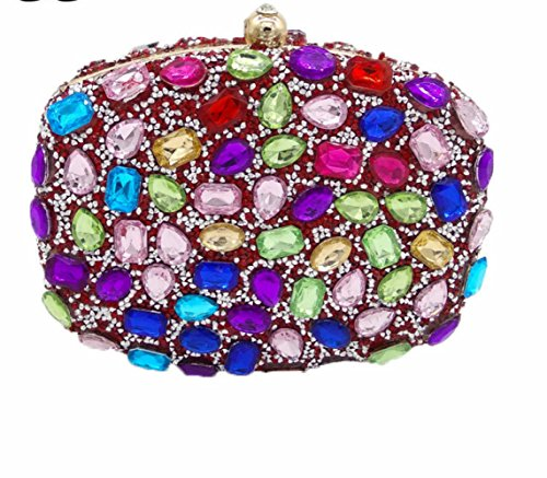 Frizioni Sera Colori Da Wlfhm Mini Per Donne Borse Diamanti Banchetti Symphonyred qwFSTtx