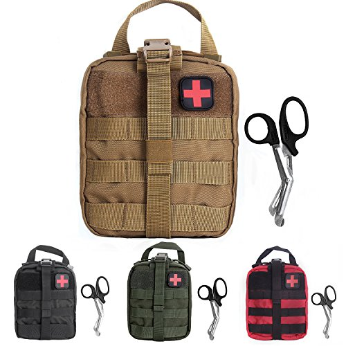 Tactical MOLLE Rip-Away EMT Medical First Aid Utility Pouch (Tan with First Aid Patch)