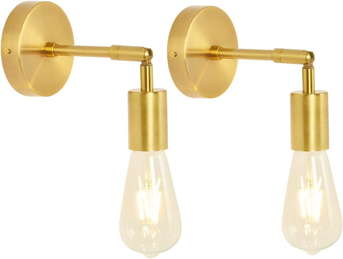 Baoden 1 Light Brushed Brass Bathroom Wall Sconce Set Of 2 Vintage Industrial Wall Lamp Pole Wall Mount Lighting Fixture Gold Color Amazon Com