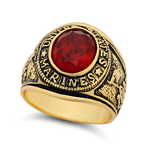 The Bling Factory Large 15mm 14k Gold Plated Simulated Ruby Red CZ Military Style Ring, Size 7