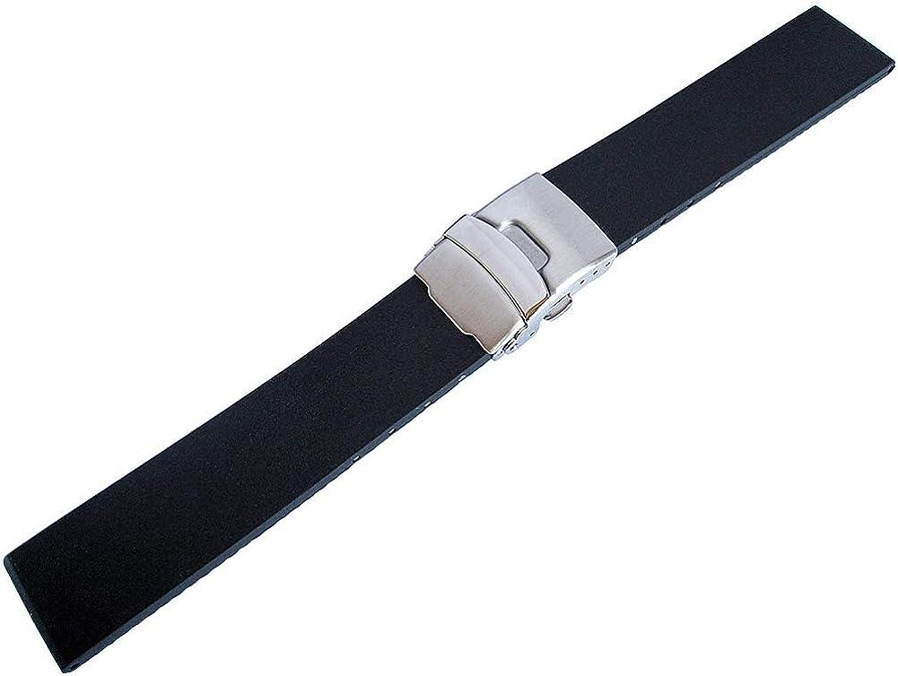 Bonetto Cinturini 22Mm Black Rubber Watch Strap Model 300L