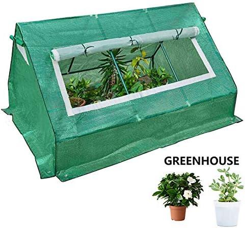ミニ温室 鉢植えの植物のための、PEカバーとロールアップジッパードア付き防水ポータブル温室テント