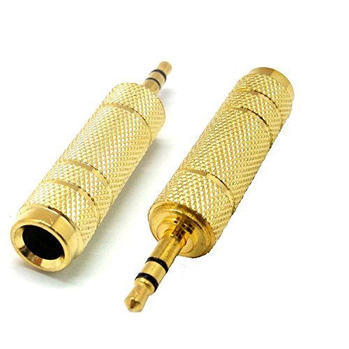 "ANRANK AK1814SA Gilded 3.5mm 1/8"" Male to 6.35mm 1/4"" Female Stereo Audio Adapter AC Jack Connector (Gold, 2 Pack)"