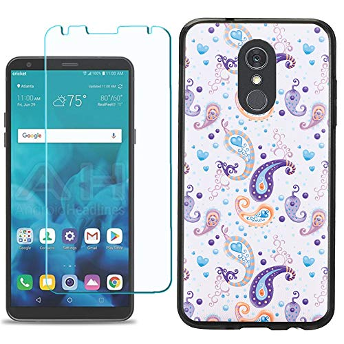 for LG Stylo 4 / Stylo 4 Plus Phone Case, Slim-Fit TPU Case (Black Bezel) with Tempered Glass Screen Protector, by One Tough Shield - Paisley Purple