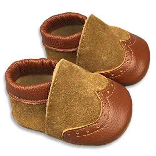Fire Frog Baby Genuine Leather Shoes - Zapatos primeros pasos de piel auténtica para niño marrón